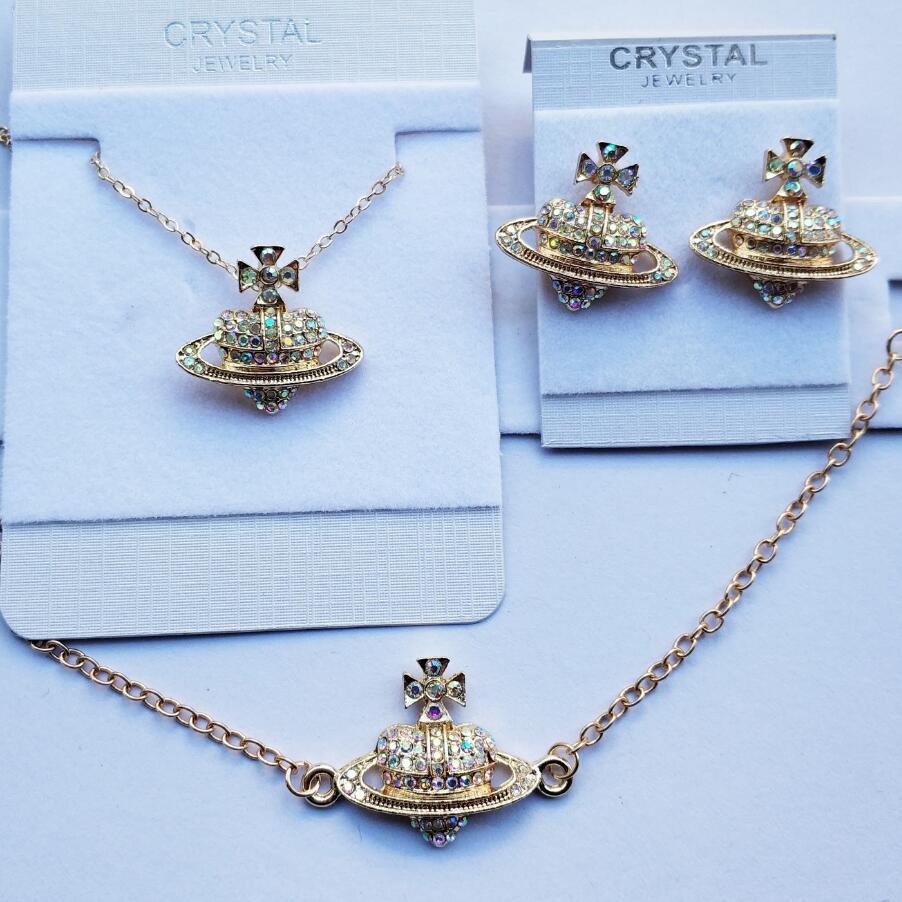 Classic cross heart Saturn AAAA+ Rhinestone bracelet fashion jewelry set necklace earring Free drop Shipping wedind gift quality