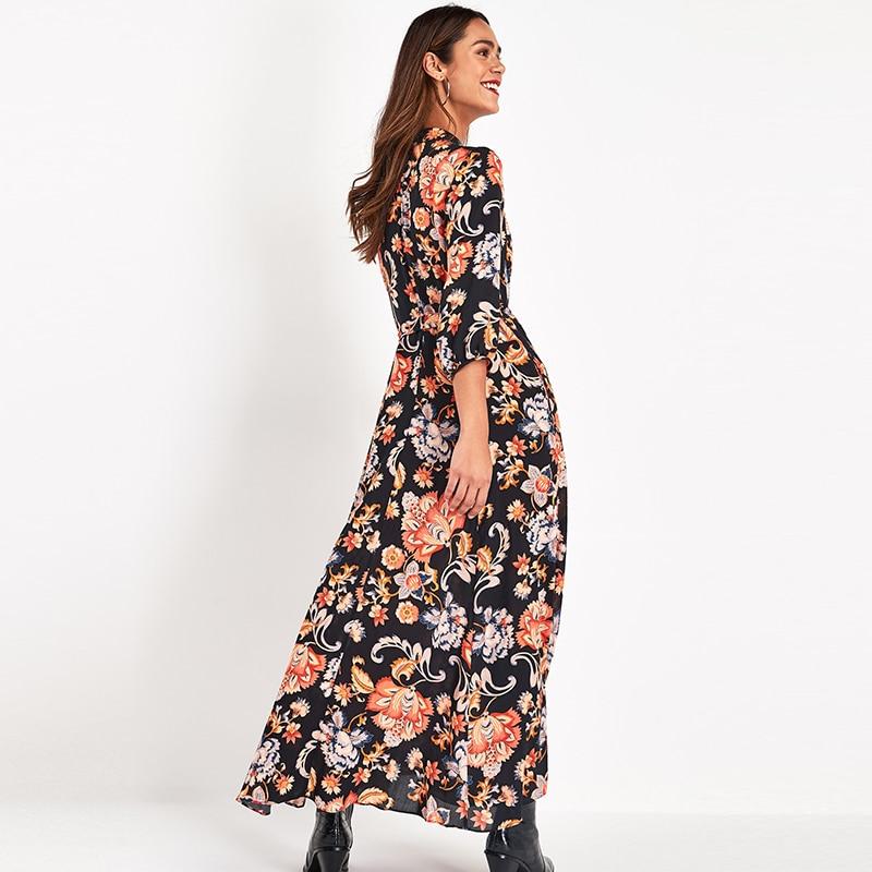 Vintage Floral Print Maxi Dress Women Boho Three Quarter Sleeve Long Sashes Dress Turn Down Collar Casual Shirt Dresses Robe 3