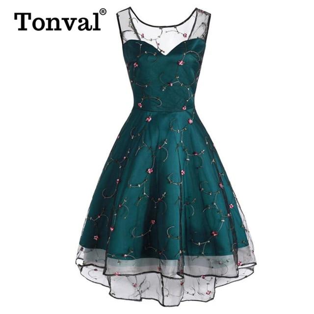Tonval Çiçek Işlemeli Örgü Tatlım Parti Elbise Kadınlar Lace Up Geri Yüksek Düşük Hem Fit ve Flare Bayanlar Zarif Elbiseler