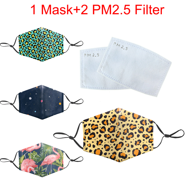 Reusable Protective PM2.5 Filter Mouth-Muffle Cartoon Funny Print Mask Bacteria Proof Flu Masks Anti Dust Washable Face Mask