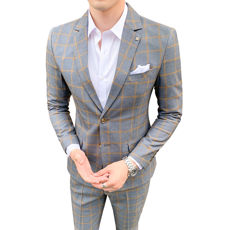 Mens Suit 2 Pieces Formal Slim Fit Tuxedo Prom Suit Men Plaid Groom Wedding Suits High Quality