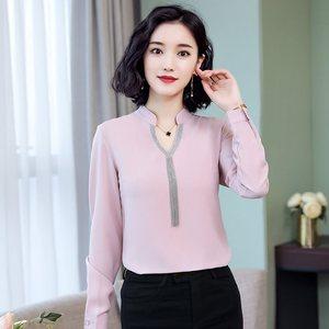 Image 3 - 2019 printemps nouvelle chemise en mousseline de soie femmes mode col en V à manches longues mince tempérament blouses bureau dames travail hauts