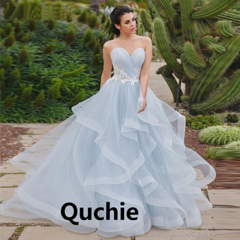 Sky Blue Wedding Dress Strapless Bodice Tiered Ruffle Pleat Lace Up Bridal Gown Illusion Formal Vestidos de Noiva