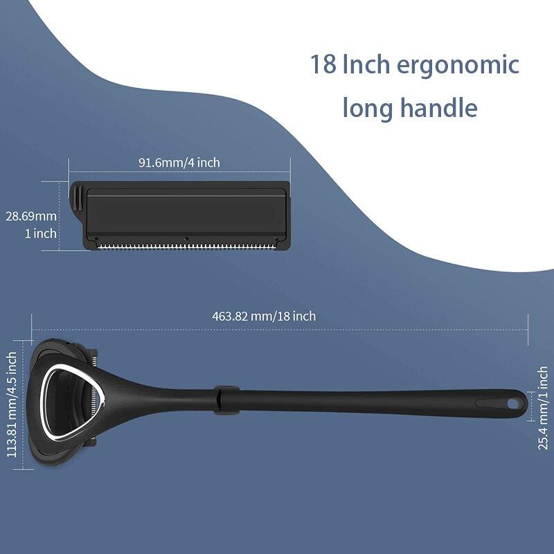 Liberex Back Shaver for Men Folded Razor Dry Wet Shaving Manual Hair Removal 18 Inch Adjustable 6 Blades Body Groomer Trimmer 6