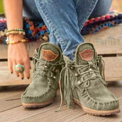 LITTHING Women Ankle Boots Retro Faux Suede Leather Tassel Short Boot Lace Up Round Toe Western Cowboy Boots Winter Shoes