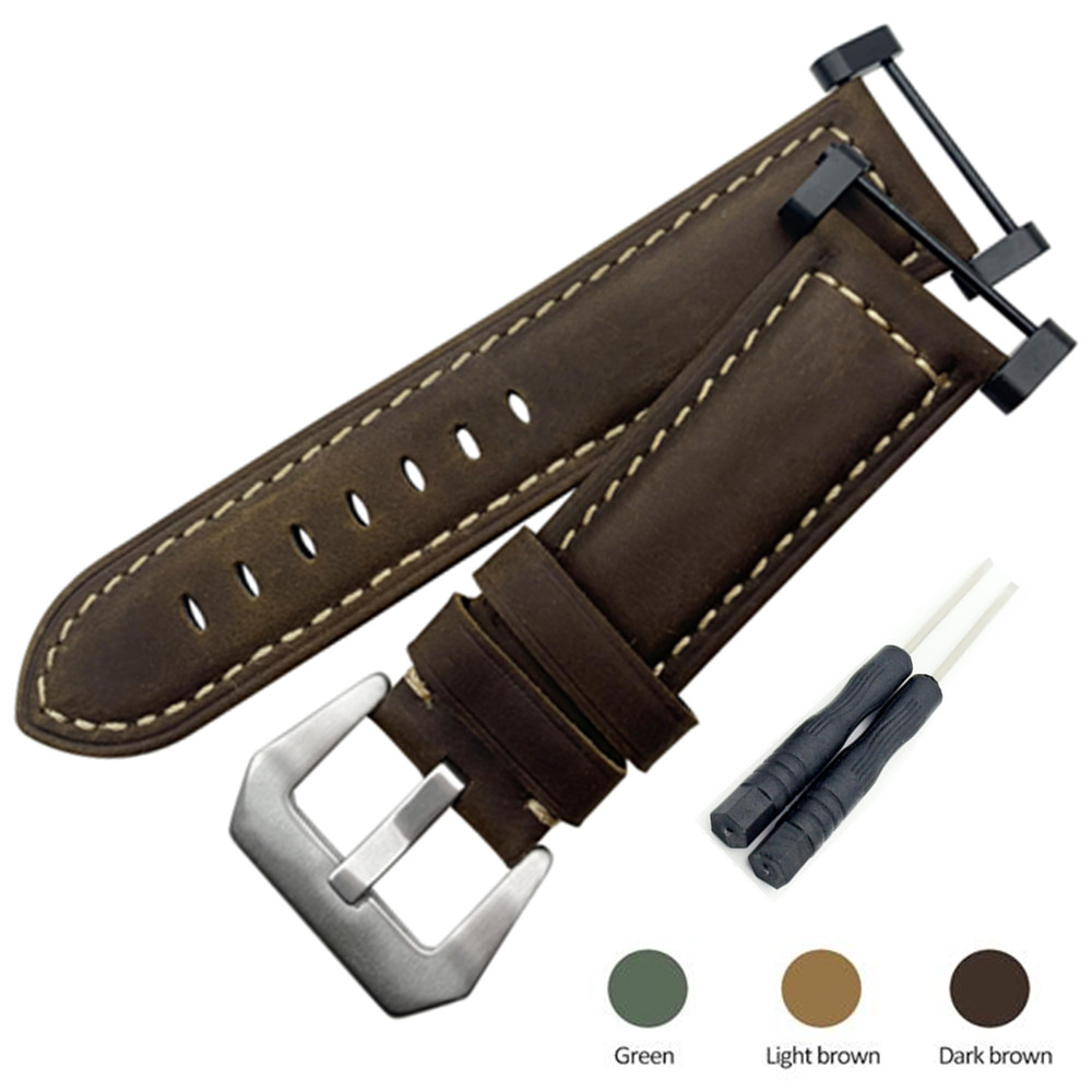 Crazy Horse Genuine Leather <font><b>Watch</b></font> band <font><b>Strap</b></font> With <font><b>PVD</b></font> Clasp + Adapter +Tool For Suunto Core Series watchband Replace image