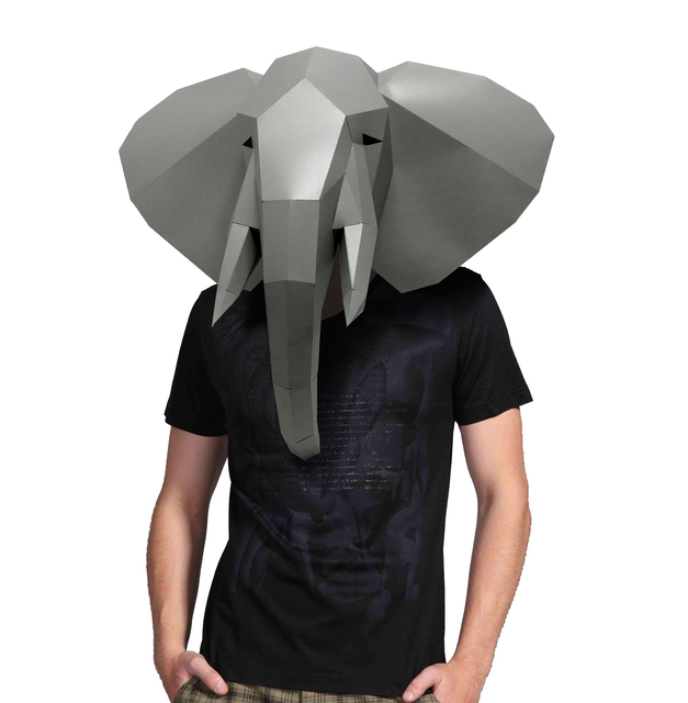 Paper Mask 3d Animal Elephant Costume Cosplay DIY Paper Craft Model Mask Christmas Halloween Prom Party Gift 3