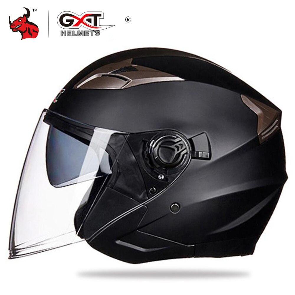 GXT casque de Moto visage ouvert double lentille visières Moto casque de vélo électrique hommes femmes été Scooter casque de Moto