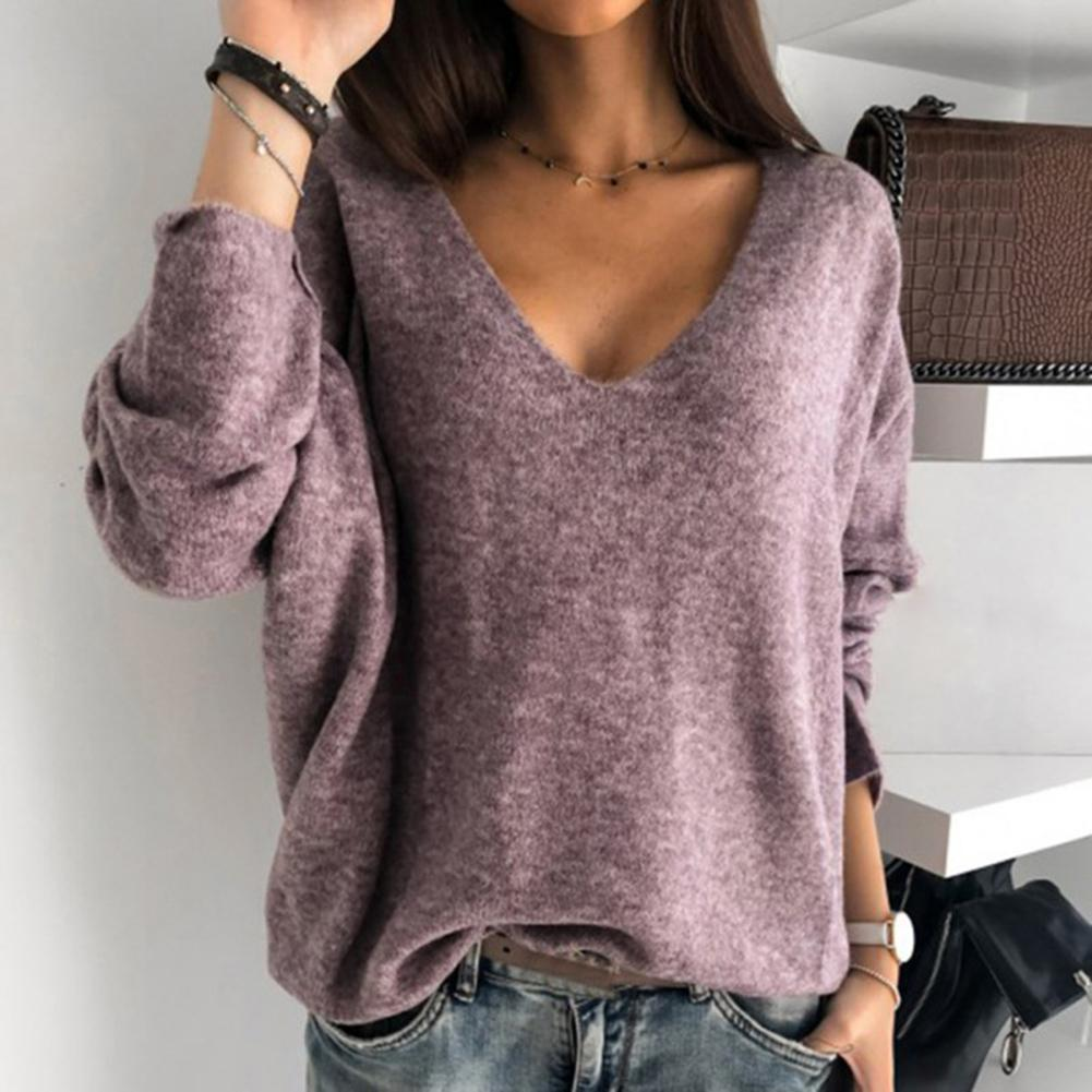 Women Autumn Loose Solid Color V Neck Long Sleeve Plush Pullover Sweater Top