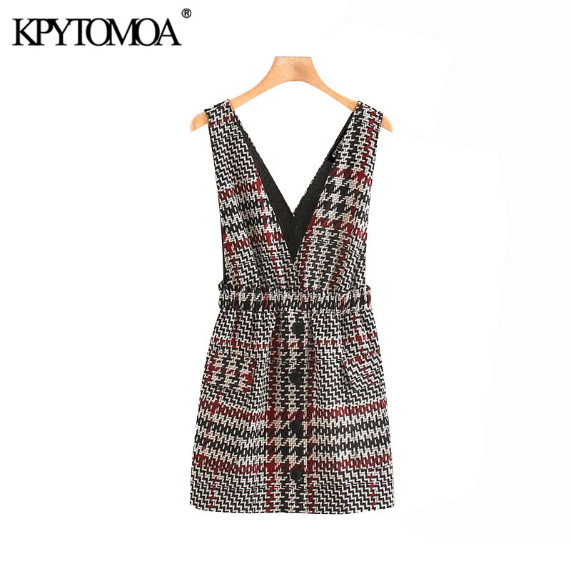 Vintage Sweet Plaid Buttoned Suspender Mini Dress Women 2020 Fashion Deep V Neck Female Overalls Dresses Chic Vestidos Mujer