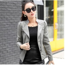 New Womens Pu Leather Jacket Casual Self-cultivation Motorcycle Knight Artificial Female Coat