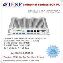 Fanless Box PC, 6 * COM, 12 * USB3.0, 4*USB2.0, 2 * I211 GLAN, SkyLake/KabyLake(R) U CPU, Rugged Industrial Computer