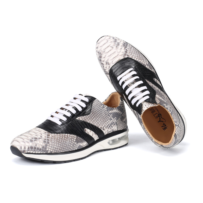 Casual Designer Authentic Real Snakeskin Soft Men's Comfortable Sneakers Genuine Python Leather Male Female Lace-up Flats Shoes