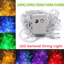 LED Garland String Lights 10M/20M/30M/50M/100M EU/US Christmas Fairy indoor Home Street Party Holiday Decoration