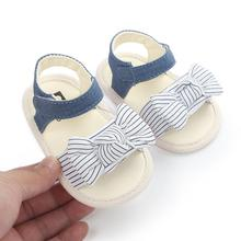 Toddler Shoes Sandals Baby-Girl First-Walker Newborn Infant Summer Bow Anti-Slip Striped