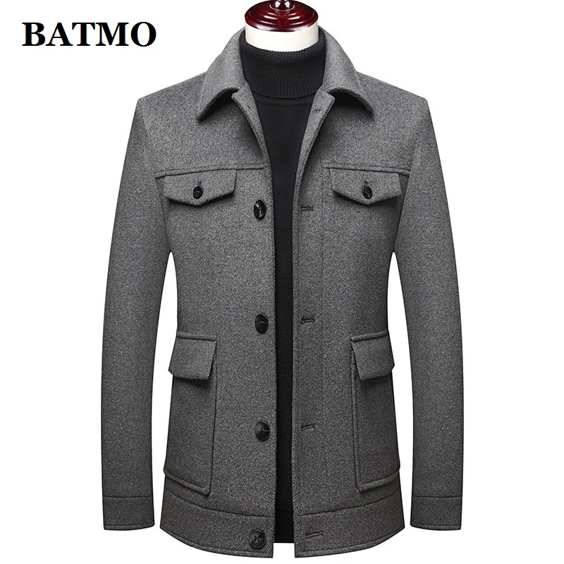 BATMO 2020 new arrival autumn&winter high quality wool thicked jackets men,men's wool coat ,plus-size M-5XL,M72001