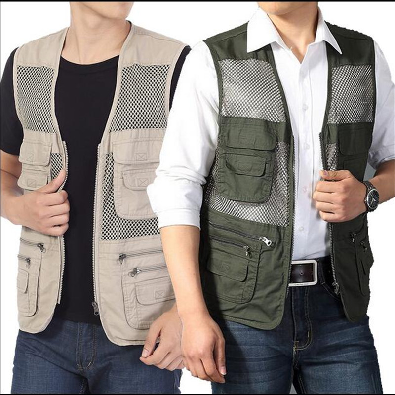 Nice hommes gilet multi-poches photographe creux gilet voguegilet voyageurs travaillant homme gilet