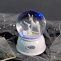 Creative Crystal Ball Music Box Decoration pretty rhythm Colorful lights Automatic Snow Unicorn and Elk Crystal Ball Music Box