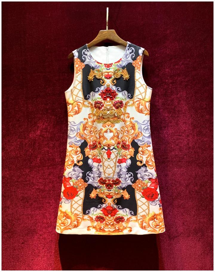 Baogarret de luxe piste automne débardeur robe courte femmes de haute qualité diamant perles imprimé Vintage fête a-ligne robe Vestdios