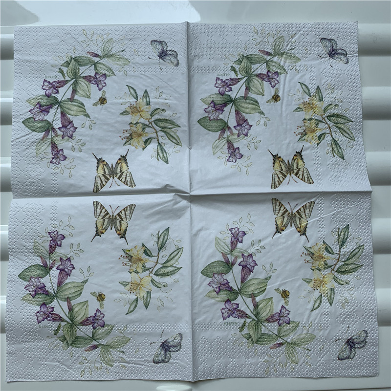 Image 2 - 25cm decoupage paper napkin wedding tissue elegant flower butterfly fruit Mango pear wine handkerchief birthday party serviettes-in Disposable Party Tableware from Home & Garden