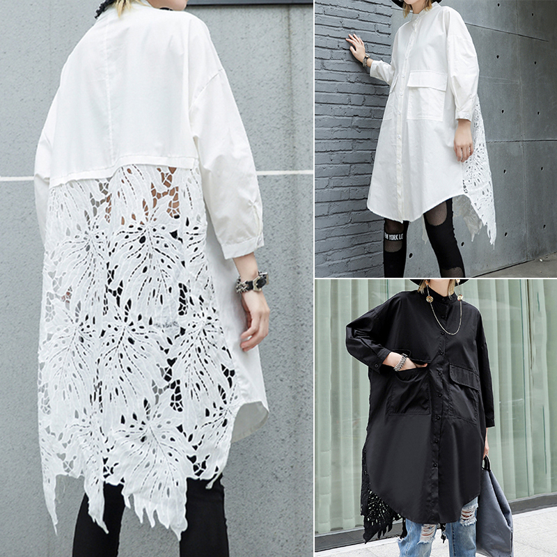 Women Lace Crochet Shirt ZANZEA Casual Lapel Neck Long Sleeve Hollow Out Shirts Loose Long Tops Femme Patchwork Blusas Chemise
