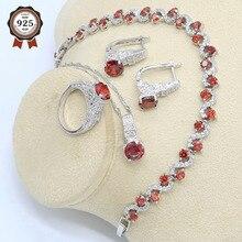 цена на Red Zircon 925 Silver Jewelry Set for Women Bracelet Hoop Earrings Necklace Pendant Ring Gift Box