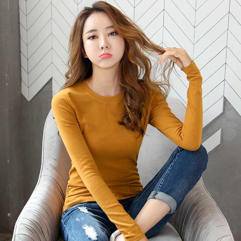 New Versatile Thin Section Slim Bottoming Shirt Women's Autumn And Winter Long-sleeved T-shirt