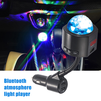 Car FM Transmitter 3 USB Charger Bluetooth Car Kit Music Player with Detachable Disco Light DJA99 image