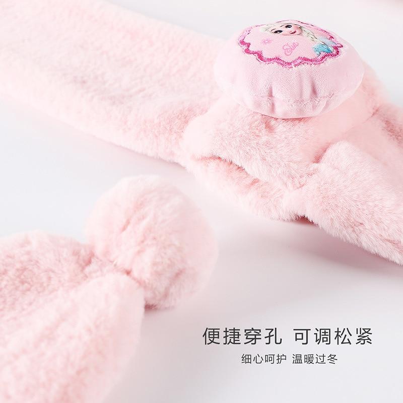 Original Disney Children's Scarf Girls Frozen Princess Soft Winter Warm Little Girl Baby Plus Fleece Scarf Girls Birthday Gift