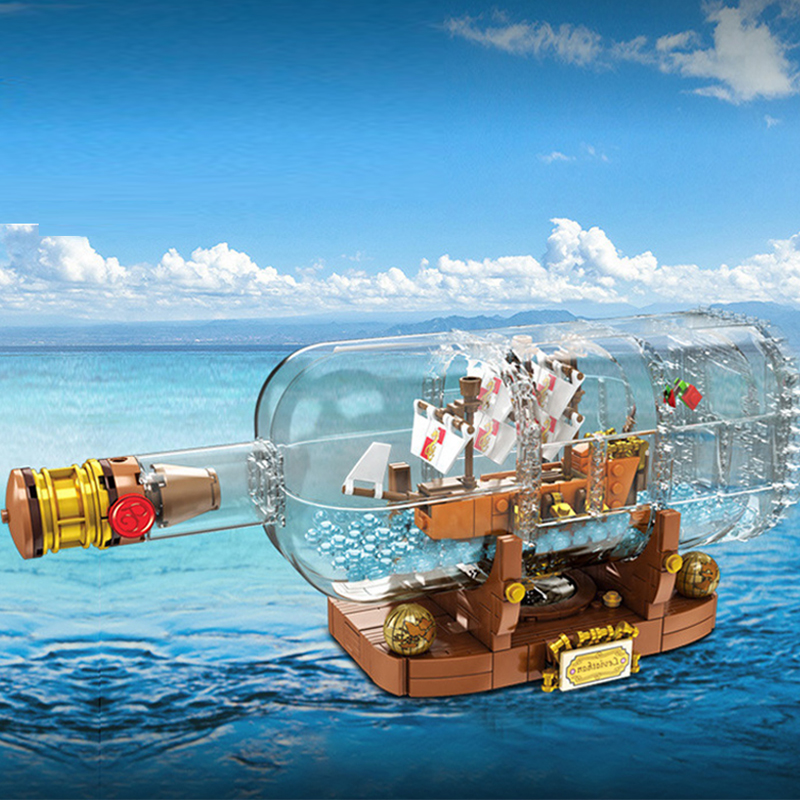IN Stock Creative Ship In A Bottle Model Building Blocks Bricks Classic for Children Toy Compatible 16051 <font><b>21313</b></font> image