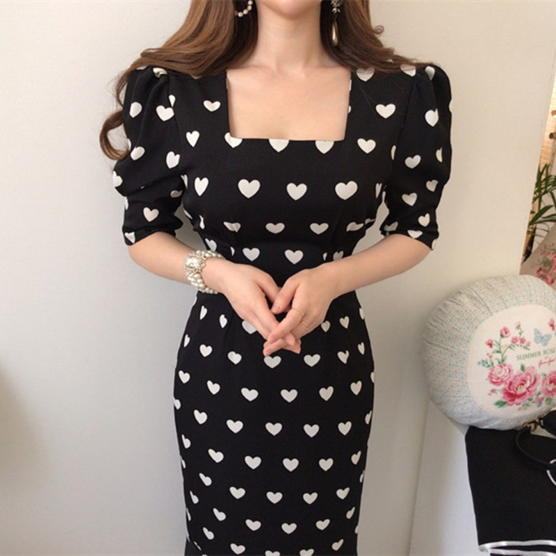 2020 New Spring Summer Chic Women Dress Half Sleeve High Waist Heart Print Dress Female Casual Square Collar Office Lady Dresses