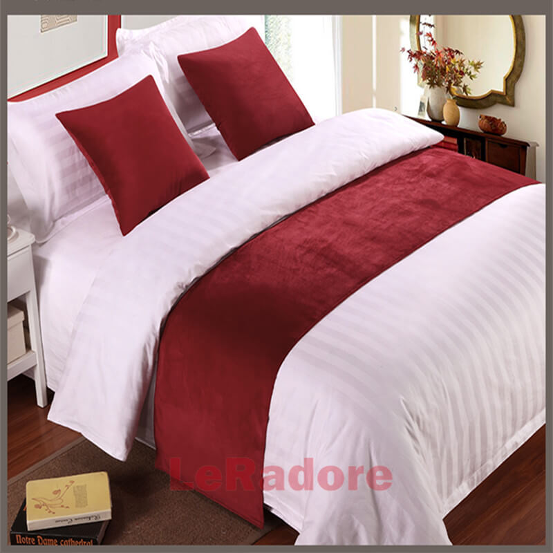 Luxury Velvet Bed Runner Hotel Scarf Set Motel Solid Protector Slipcover Bed Decor Scarf King For Hotel Wedding Cushion Cover