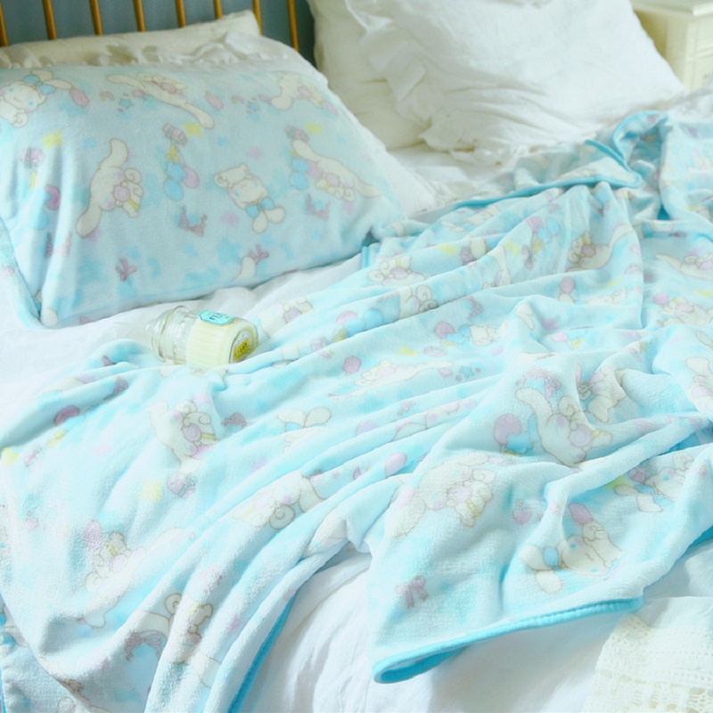 Cartoon Cinnamoroll Print Summer Throw Blankets Coral Fleece Plaids Multisize Bedsheet Multifunctional Bedspread