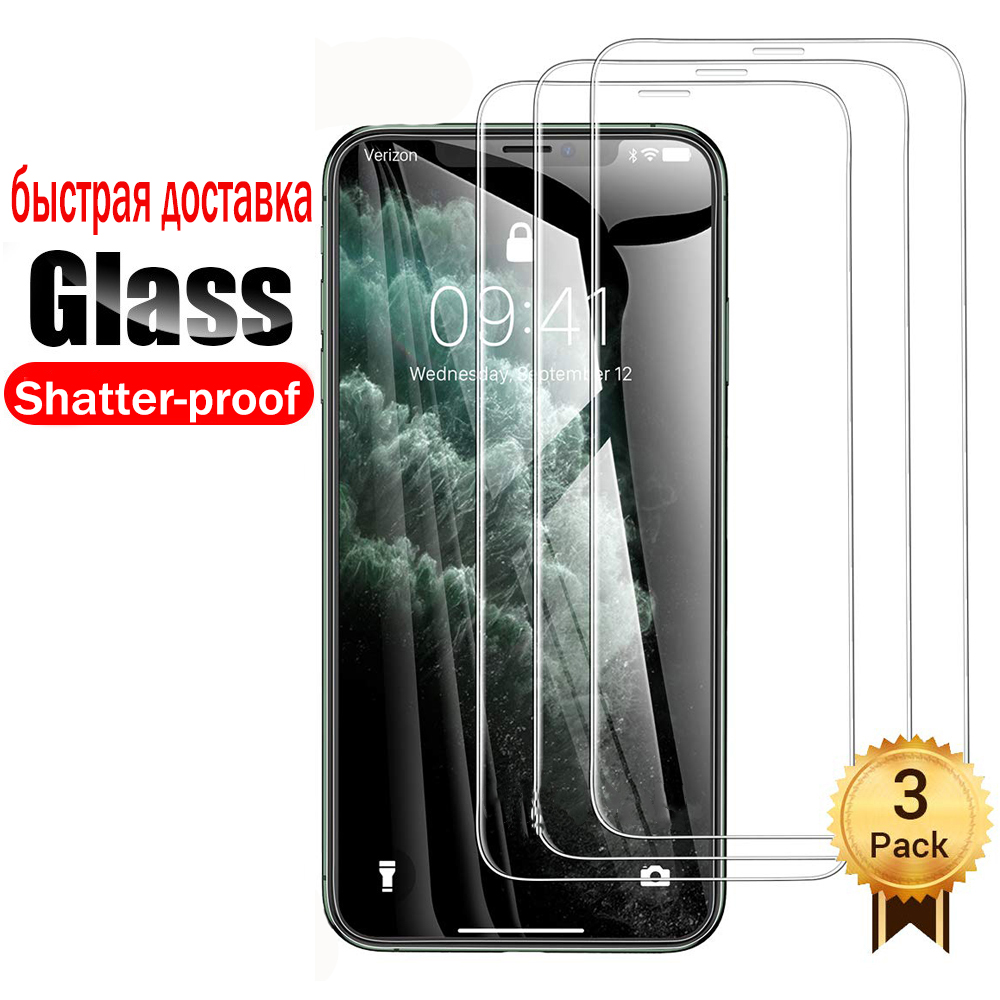 3PCS Full Tempered Glass For Iphone 11 Pro XS Max 7 6 6 6s 8 Plus XR Glass Iphone 7 8 5 4 Screen Protector Glass On Iphone X 6S