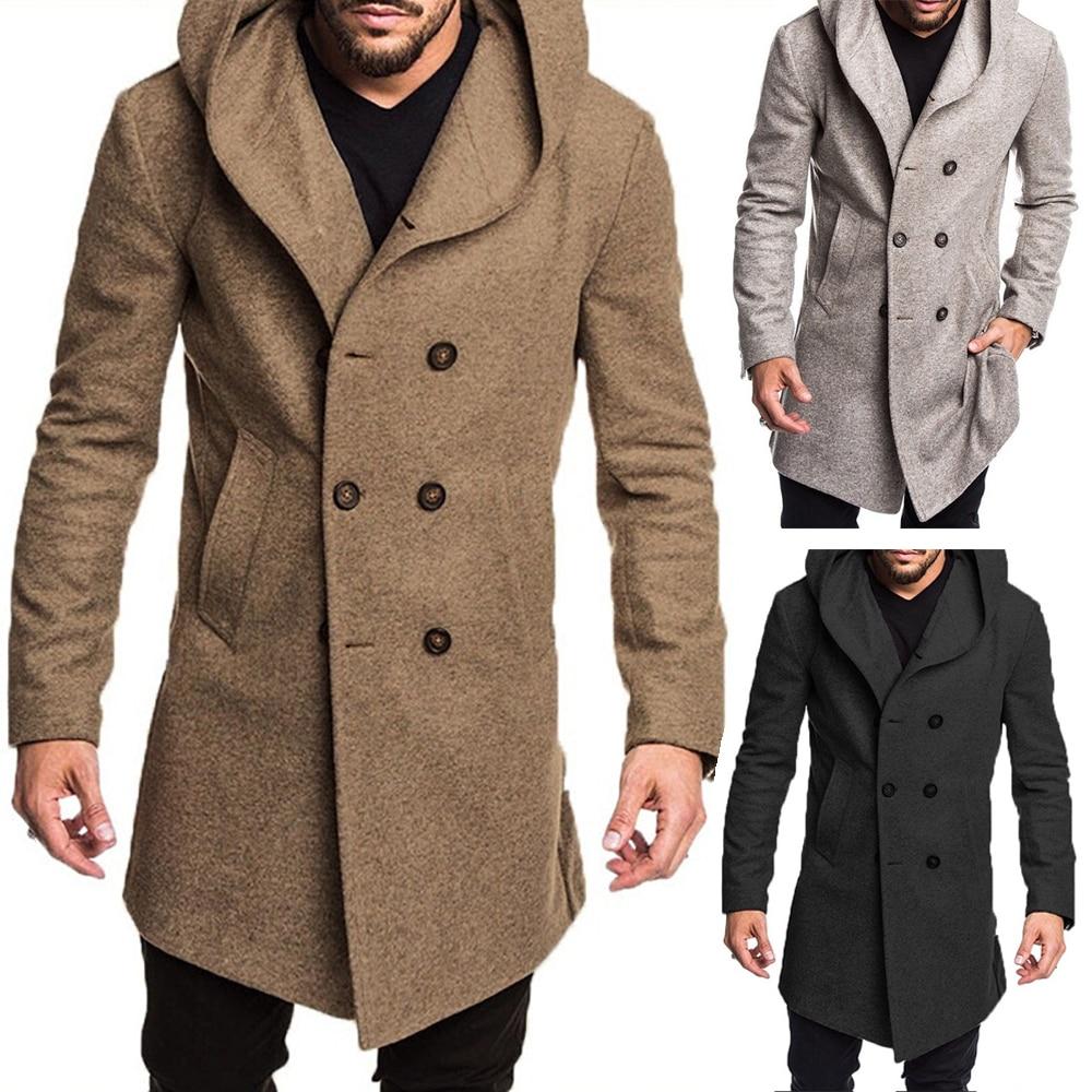 Autumn Winter British Style Men's Wool Coat New Design Zipper Long Trench Coat Brand Clothing Quality Hooded Woolen Coat Men