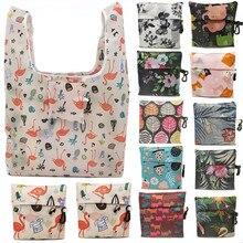 GABWE, новая переработанная сумка для покупок с фламинго, эко многоразовая сумка для покупок с короткими ручками, Сумка с мультяшным цветочным рисунком, складная сумка на плечо, сумки с принтом