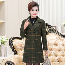 Autumn Winter Women Trench Coat Khaki Wine Red Dark Green Plaid Double-breasted Thick Quilted Trenches Overcoats Smart Casual