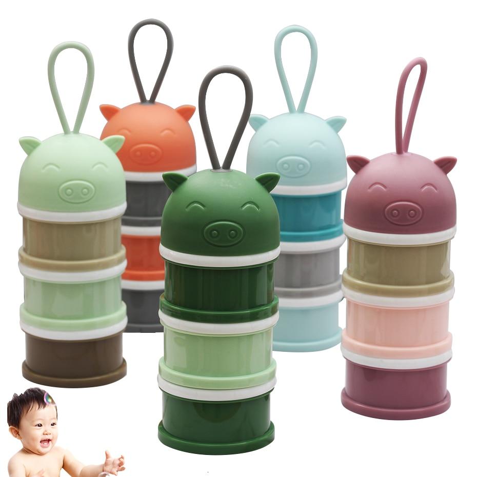 3 Layer Portable Newbon Baby Food Storage Box Bibs Cartoon Animal Essential  Milk Powder Box Infant Kids Formula Milk Container
