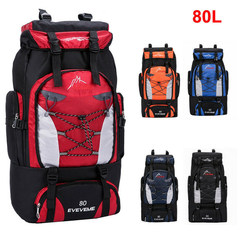 NEW 2020 Unisex Large Waterproof Travel Backpack Hiking Camping Rucksack Trekking Luggage Bag Sport Travel 80L