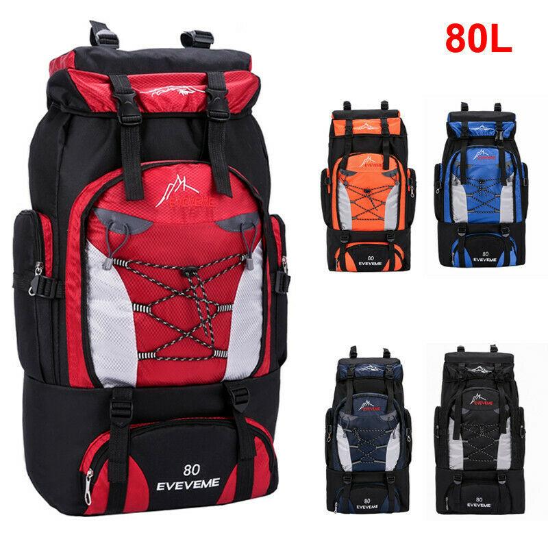 NEW 2020 Unisex Large Waterproof Travel Backpack Hiking Camping Rucksack Trekking Luggage Bag Sport Travel 80L