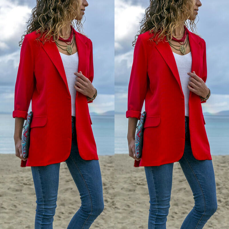 STOCK Office Lady Jackets Women Slim Fit Business Coat Solid Color Jacket Coat