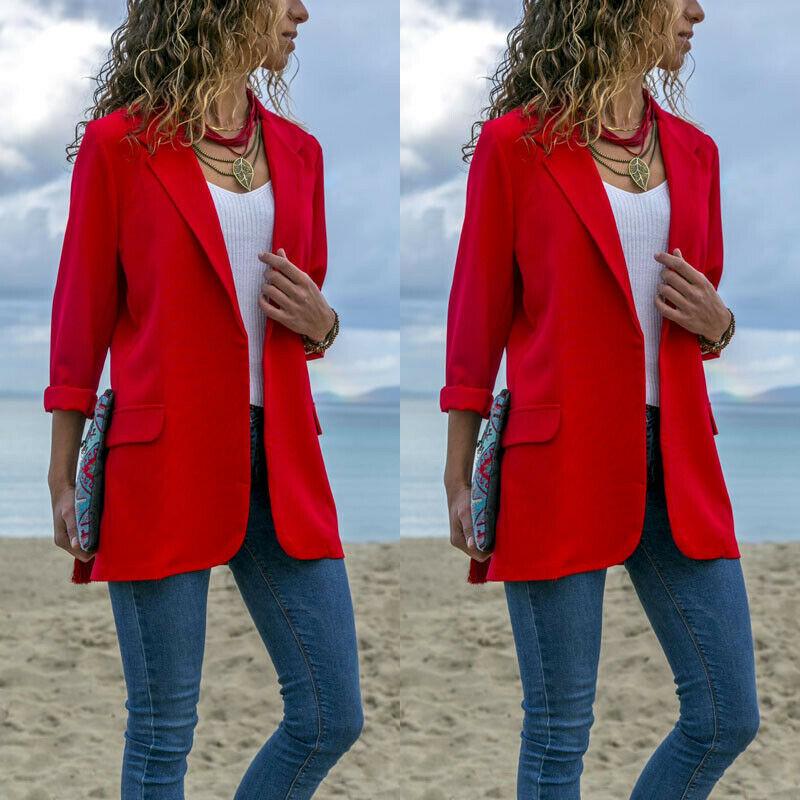 STOCK Office Lady Jackets Women Slim Fit Business Coat Solid Color Jacket Coat