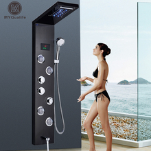 Tap-Tower Column Faucet-Set Shower-Panel Waterfall Massage-Jet Led-Light SPA