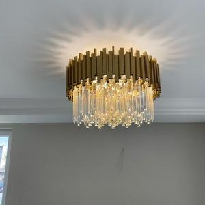 Image 2 - Phube Lighting Gold Crystal Ceiling Light Luxury Modern Bedroom LED Lustres De Cristal Home Indoor Lighting Fixtures