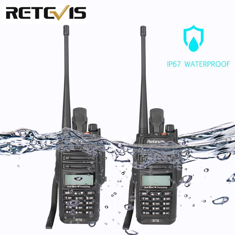 2pcs Retevis RT6 Walkie Talkie Dual Band VHF UHF Radio FM Radio IP67 Waterproof VOX SOS Alarm Professional Ham Radio Station