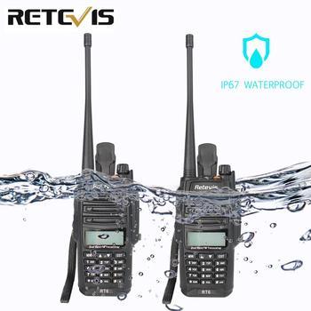 2pcs Retevis RT6 Walkie Talkie Dual Band VHF UHF Radio FM Radio IP67 Waterproof VOX SOS Alarm Professional Ham Radio Station ihome id95sz silver dual alarm with fm ipod