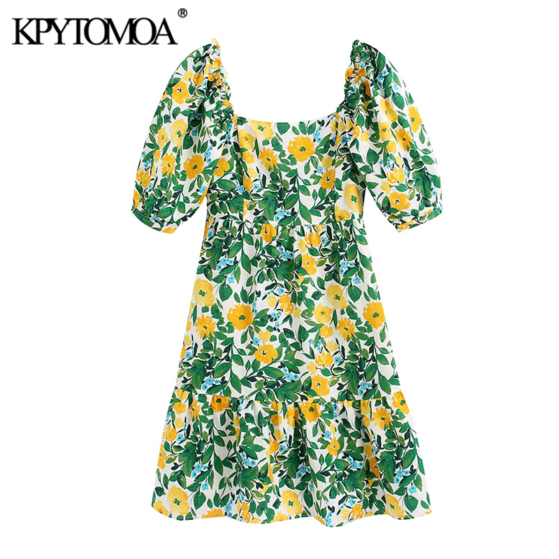 KPYTOMOA Women 2020 Elegant Fashion Floral Print Mini Dress Vintage Short Sleeve Backless Zipper Female Dresses Vestidos Mujer