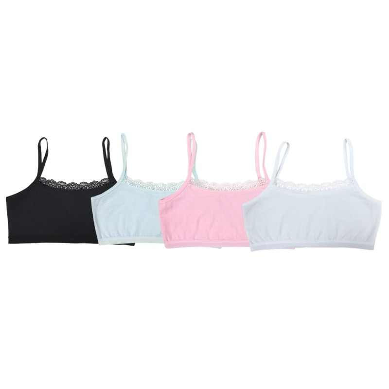 Semua Musim Kapas 8-12Y Gadis Pakaian Cute Renda Bra Lembut Nyaman 4 Warna Kamisol Bra Olahraga Atas untuk Remaja Pelatihan bra
