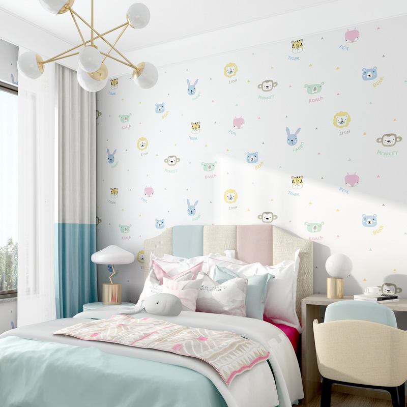 Children Room Cartoon Non-woven Wallpaper Cute 3D Animal Modern Minimalist Bedroom Living Room Wall Wallpaper