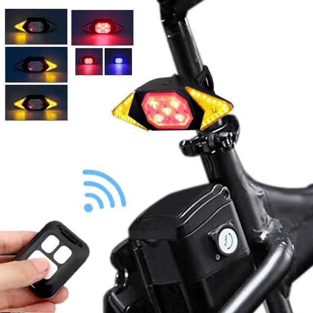Bicicleta inteligente girando sinal ciclismo lanterna traseira inteligente usb recarregável luz traseira controle remoto led aviso lâmpada 1